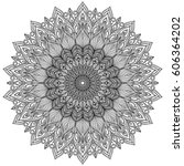 mandala. decorative round... | Shutterstock .eps vector #606364202