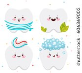 set with clean teeth  dental... | Shutterstock .eps vector #606369002