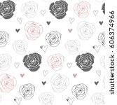seamless floral pattern with... | Shutterstock .eps vector #606374966