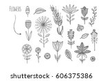 lovely hand drawn floral... | Shutterstock .eps vector #606375386