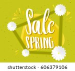spring sale green poster. sale... | Shutterstock . vector #606379106