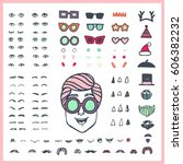 doodle man face bundle. hand... | Shutterstock .eps vector #606382232