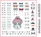 doodle woman face bundle. hand... | Shutterstock .eps vector #606382355