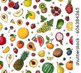 pattern. fresh food. watermelon ... | Shutterstock .eps vector #606384365