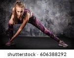attractive fitness woman ... | Shutterstock . vector #606388292