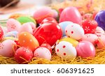 colorful pastel easter eggs on... | Shutterstock . vector #606391625