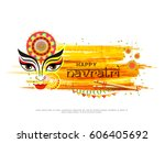 illustration of happy navratri... | Shutterstock .eps vector #606405692
