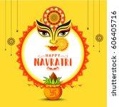 illustration of happy navratri... | Shutterstock .eps vector #606405716