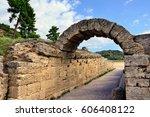 ancient stadium shown in... | Shutterstock . vector #606408122