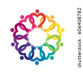 round frame with rainbow hands. ... | Shutterstock .eps vector #606408782