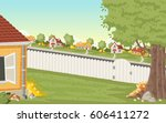 wood fence on the backyard of a ...   Shutterstock .eps vector #606411272