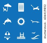 set of 9 summer filled icons... | Shutterstock .eps vector #606419852