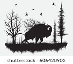 buffalo walking in the forest... | Shutterstock .eps vector #606420902