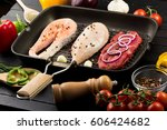 animal proteins ready to be... | Shutterstock . vector #606424682