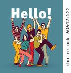 hello sign team group business... | Shutterstock .eps vector #606425522