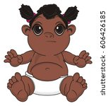 black  baby girl sit with out... | Shutterstock . vector #606426185