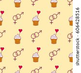 simple red heart cupcake sharp... | Shutterstock .eps vector #606428516
