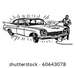 man washing car   retro clip art | Shutterstock .eps vector #60643078