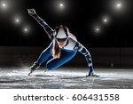 Short Track. Athlete On Ice...