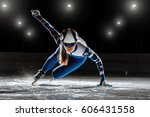 short track. athlete on ice... | Shutterstock . vector #606431558