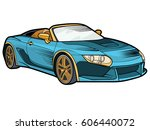 racing on the sports car | Shutterstock .eps vector #606440072