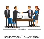 businesss and office concept  ... | Shutterstock .eps vector #606445052