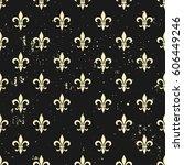 fleur de lis seamless pattern.... | Shutterstock .eps vector #606449246