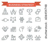business strategy icons  thin... | Shutterstock .eps vector #606454748