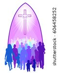 church people of all ages and... | Shutterstock .eps vector #606458252