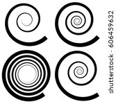 set of 4 spiral shape  spiral... | Shutterstock .eps vector #606459632