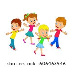 kids boys and girls are running ... | Shutterstock .eps vector #606463946