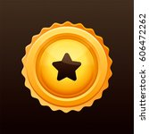 golden medal with star on it.... | Shutterstock .eps vector #606472262