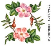 watercolor botanical pattern... | Shutterstock . vector #606479672