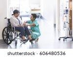 african american nurse in... | Shutterstock . vector #606480536