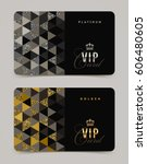 vip golden and platinum card... | Shutterstock .eps vector #606480605