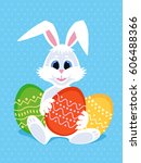 happy easter greeting card with ... | Shutterstock . vector #606488366