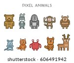 pixel art collection of cute 8... | Shutterstock .eps vector #606491942