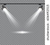 vector spotlight. red podium... | Shutterstock .eps vector #606492515
