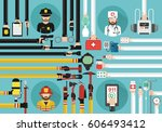 emergency call 911 concept... | Shutterstock .eps vector #606493412