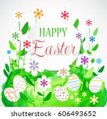 colorful easter card with... | Shutterstock .eps vector #606493652