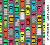 seamless pattern with cars on... | Shutterstock . vector #606505286