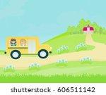 school bus heading to school... | Shutterstock . vector #606511142