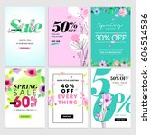 Set of spring sale banners. Vector illustrations for website banners, mobile banners, newsletter designs, ads, coupons, social media banners.