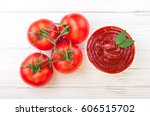tomato ketchup sauce in a bowl... | Shutterstock . vector #606515702