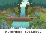 green forest with waterfall.... | Shutterstock .eps vector #606525932