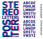 stereoscopic letters. the... | Shutterstock .eps vector #606526412