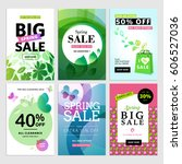 set of spring sale banners.... | Shutterstock .eps vector #606527036