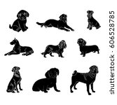 vector silhouettes of dogs of... | Shutterstock .eps vector #606528785