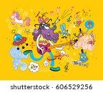 guitar player cartoon... | Shutterstock .eps vector #606529256