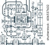 complex industrial automatic... | Shutterstock .eps vector #606537632